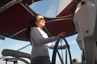 Denise at the helm