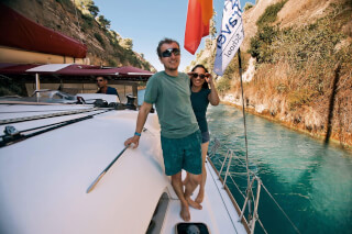 Andrew & Denise motoring through Corinth Canal, Oct 2017