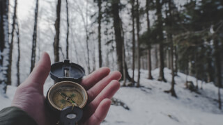 person-holding-compass-in-forest